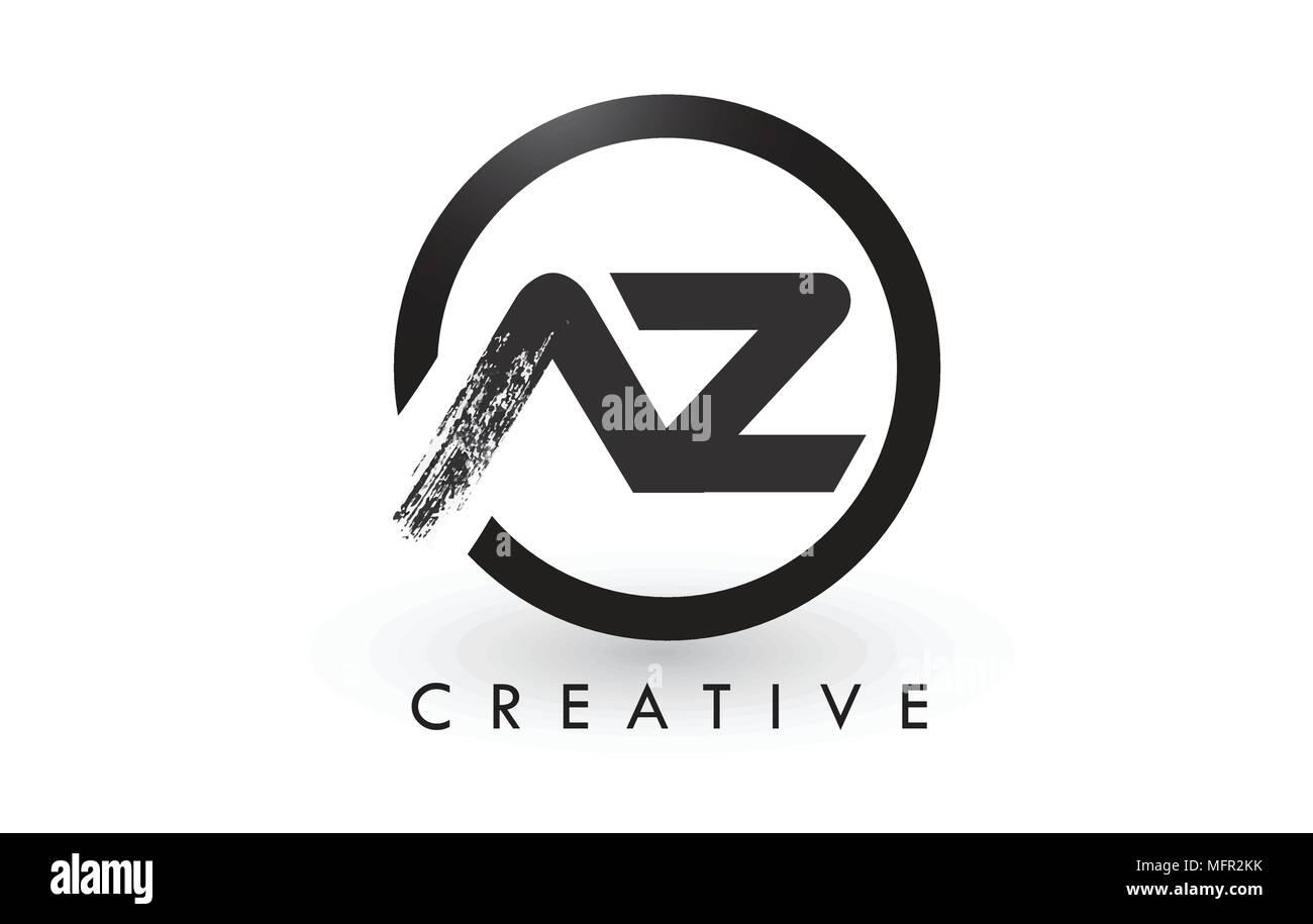 az brush letter logo design with black circle creative brushed