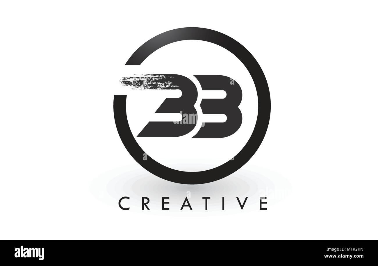 Bb Brush Letter Logo Design With Black Circle Creative