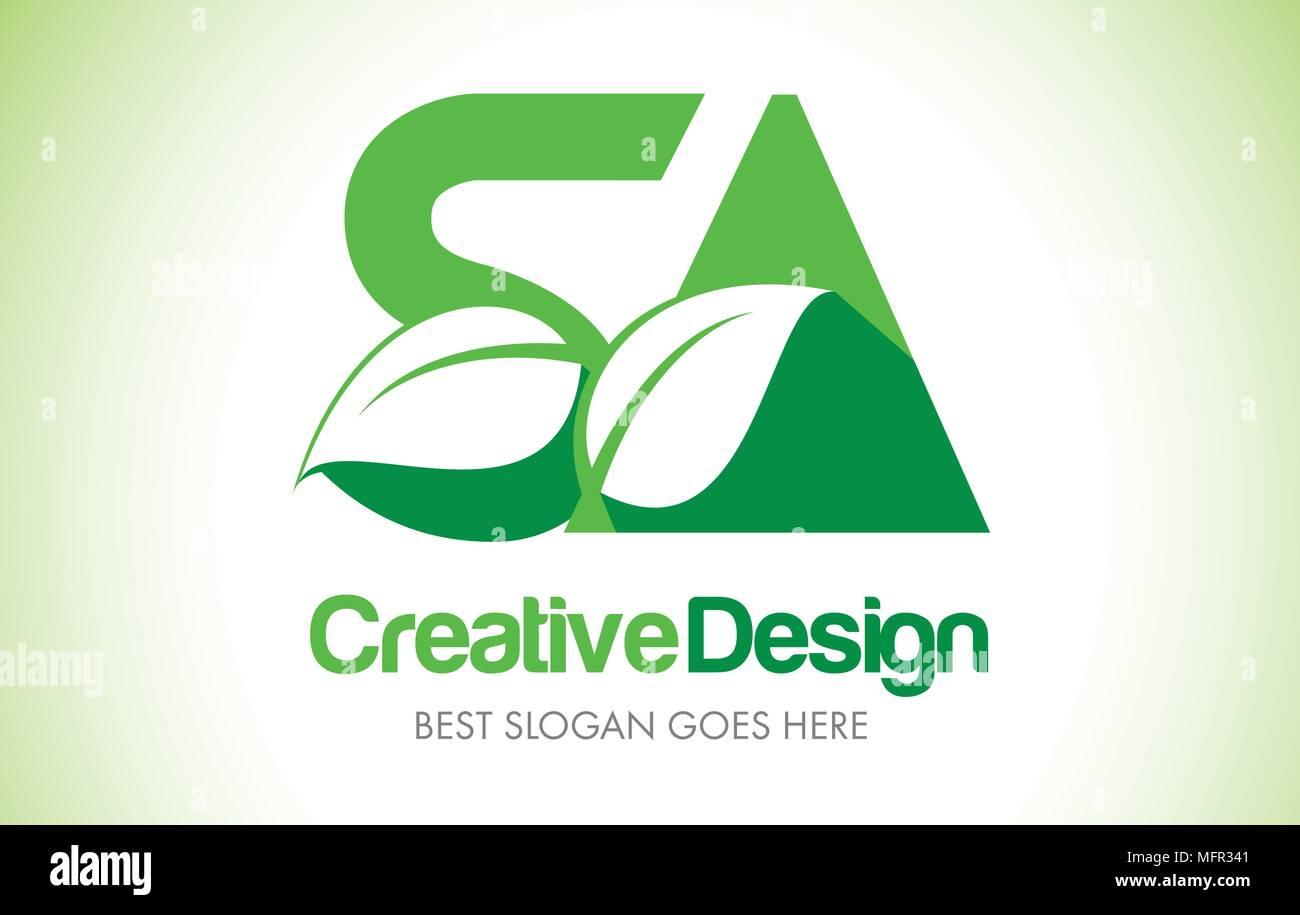 SA Green Leaf Letter Design Logo. Eco Bio Leaf Letters Icon Illustration Vetor Logo. - Stock Vector