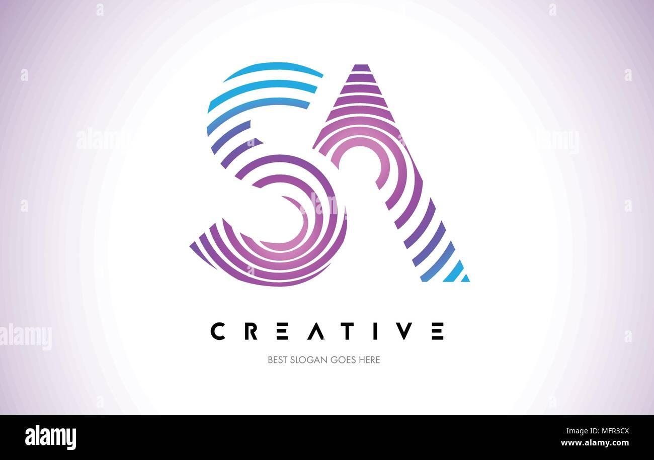 SA Lines Warp Logo Design.Vector Letter Icon Made with Purple Circular Lines. - Stock Vector