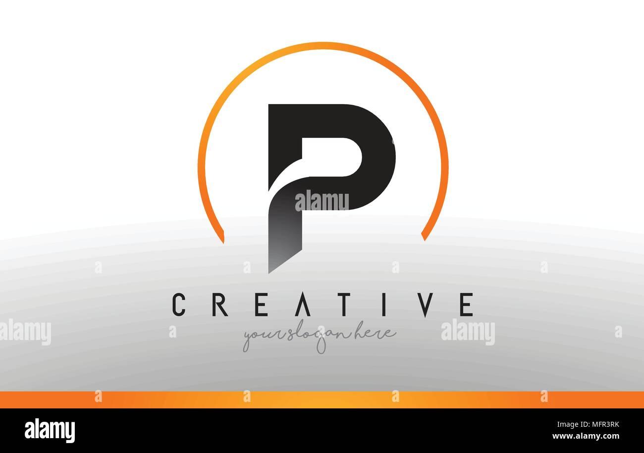 Cool Letter I Logo.P Letter Logo Design With Black Orange Color Cool Modern