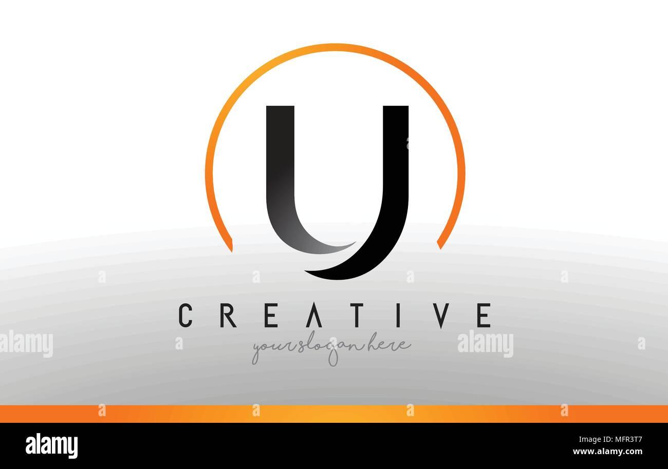 Cool Letter I Logo.U Letter Logo Design With Black Orange Color Cool Modern