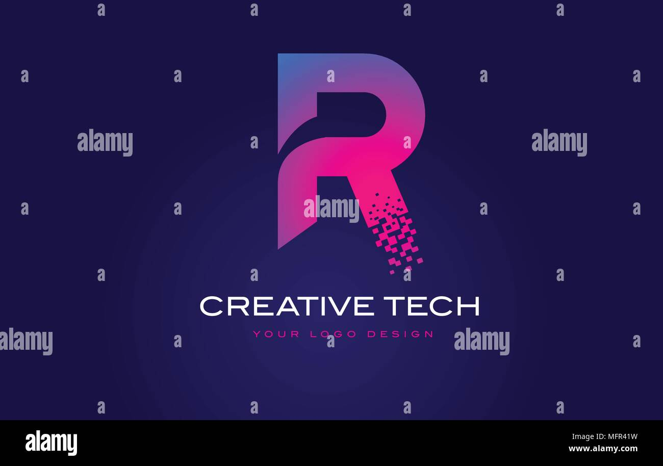 R Initial Letter Logo Design with Digital Pixels in Blue and