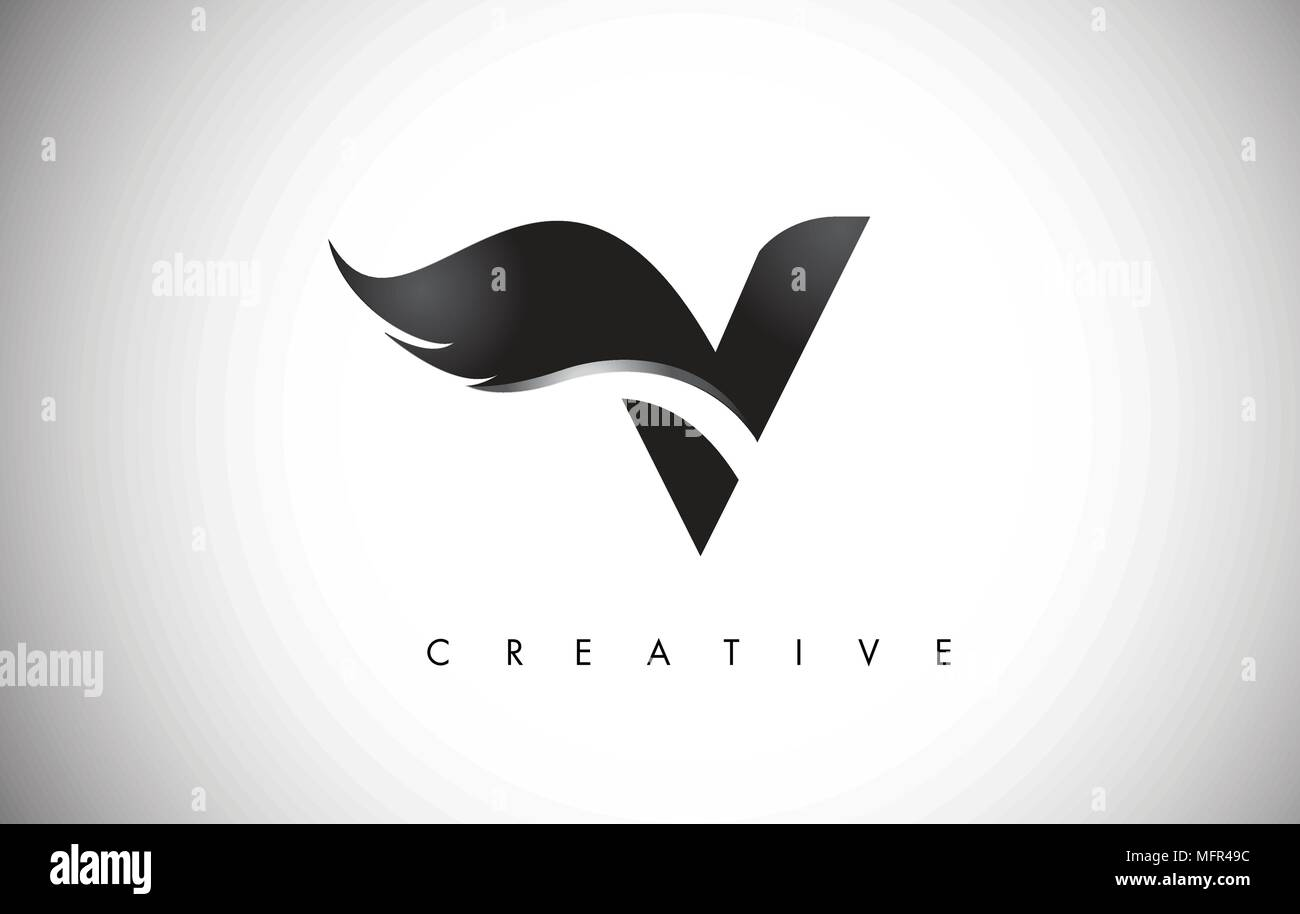 V Letter Wings Logo Design Icon Flying Wing Letter Logo With
