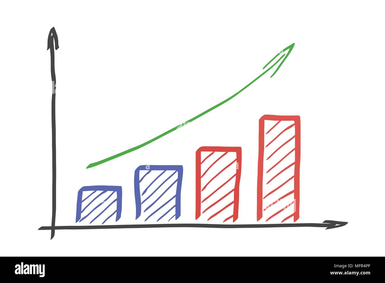 Hand Drawn Graph Of Growth With Arrow Isolated Vector On White Seed Germination Diagram Background