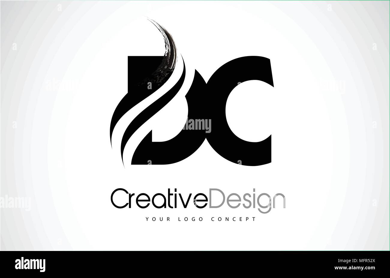Dc D C Creative Modern Black Letters Logo Design With Brush