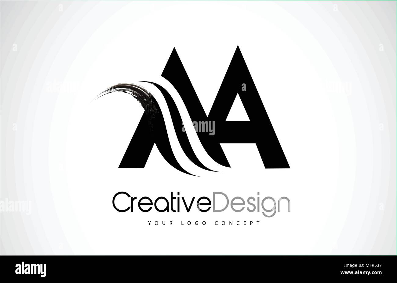 Aa A Creative Modern Black Letters Logo Design With Brush