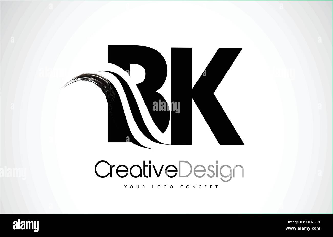 Bk B K Creative Modern Black Letters Logo Design With Brush
