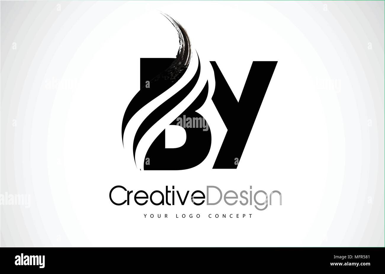 BY B Y Creative Modern Black Letters Logo Design With Brush Swoosh