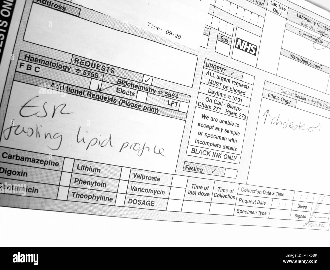 Blood test information on a Haematology & Biochemistry request form - Stock Image