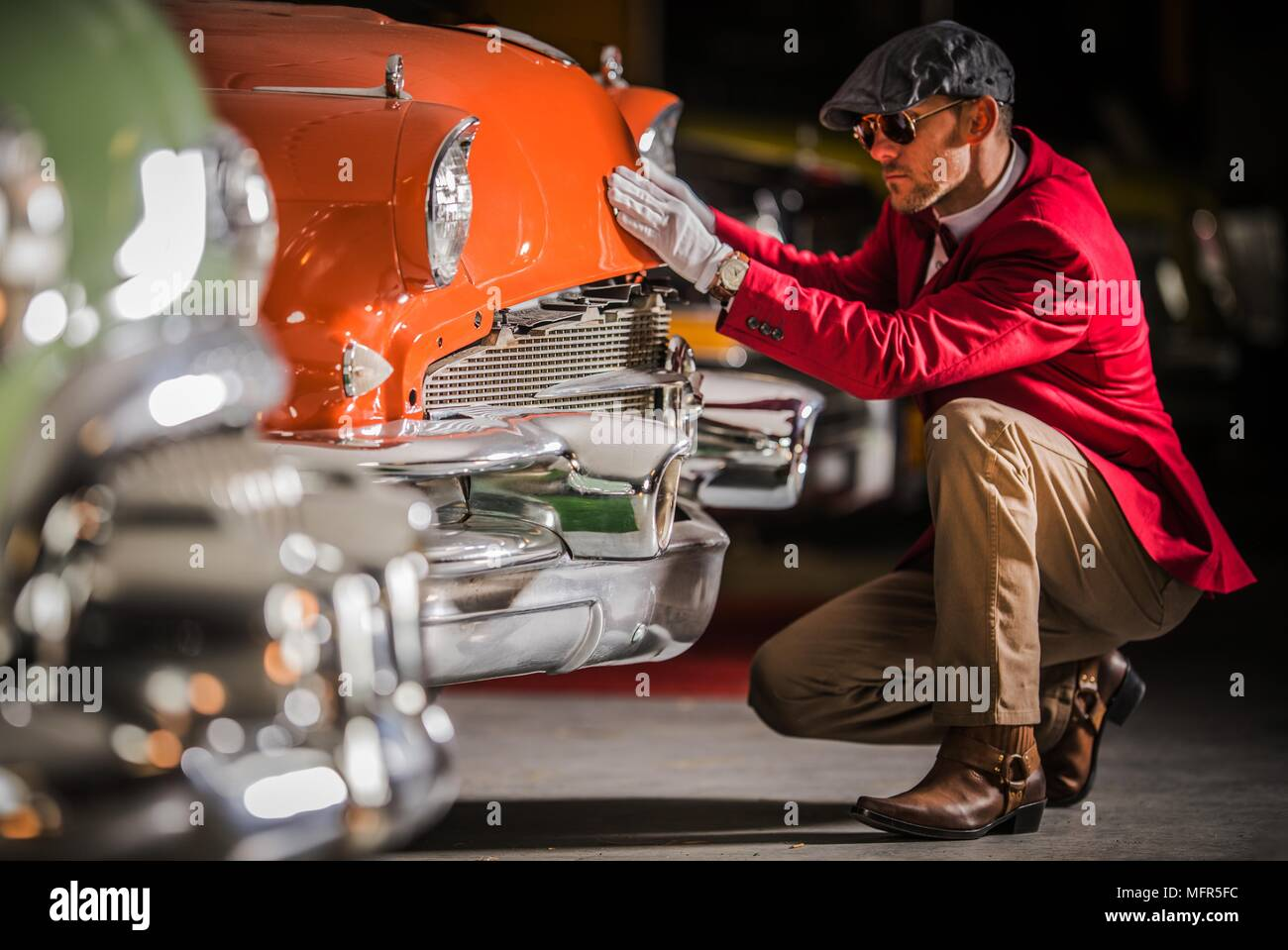 Men Taking Close Look on the Vehicle. American Classic Car Appraisal ...