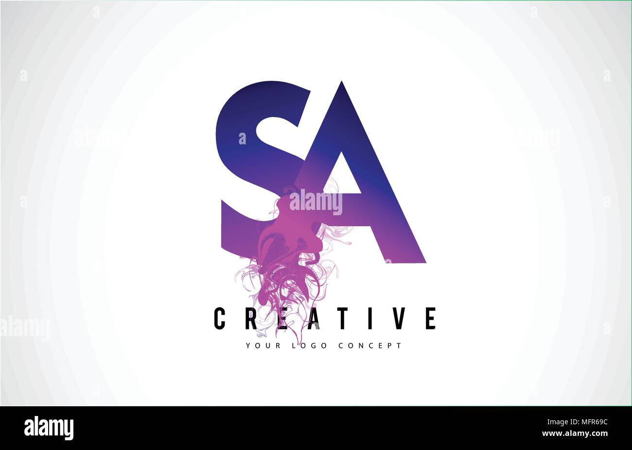 SA S A Purple Letter Logo Design with Creative Liquid Effect Flowing Vector Illustration. Stock Vector