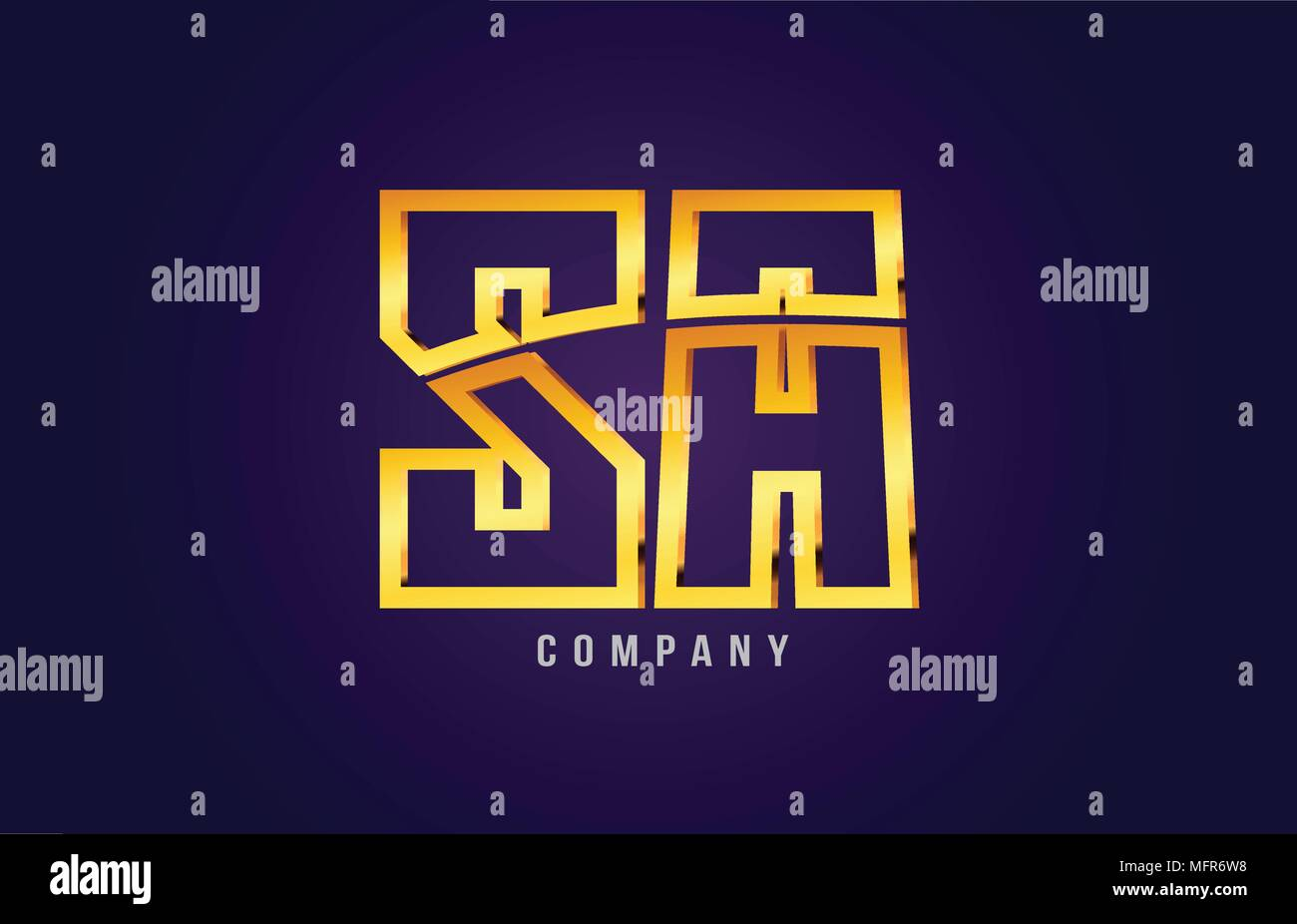gold golden alphabet letter sa s a logo combination design suitable for a company or business on a puple blue background Stock Vector