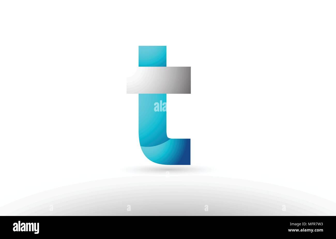 Grey Blue Alphabet Letter T Logo 3d Design Suitable For A Company Or Business