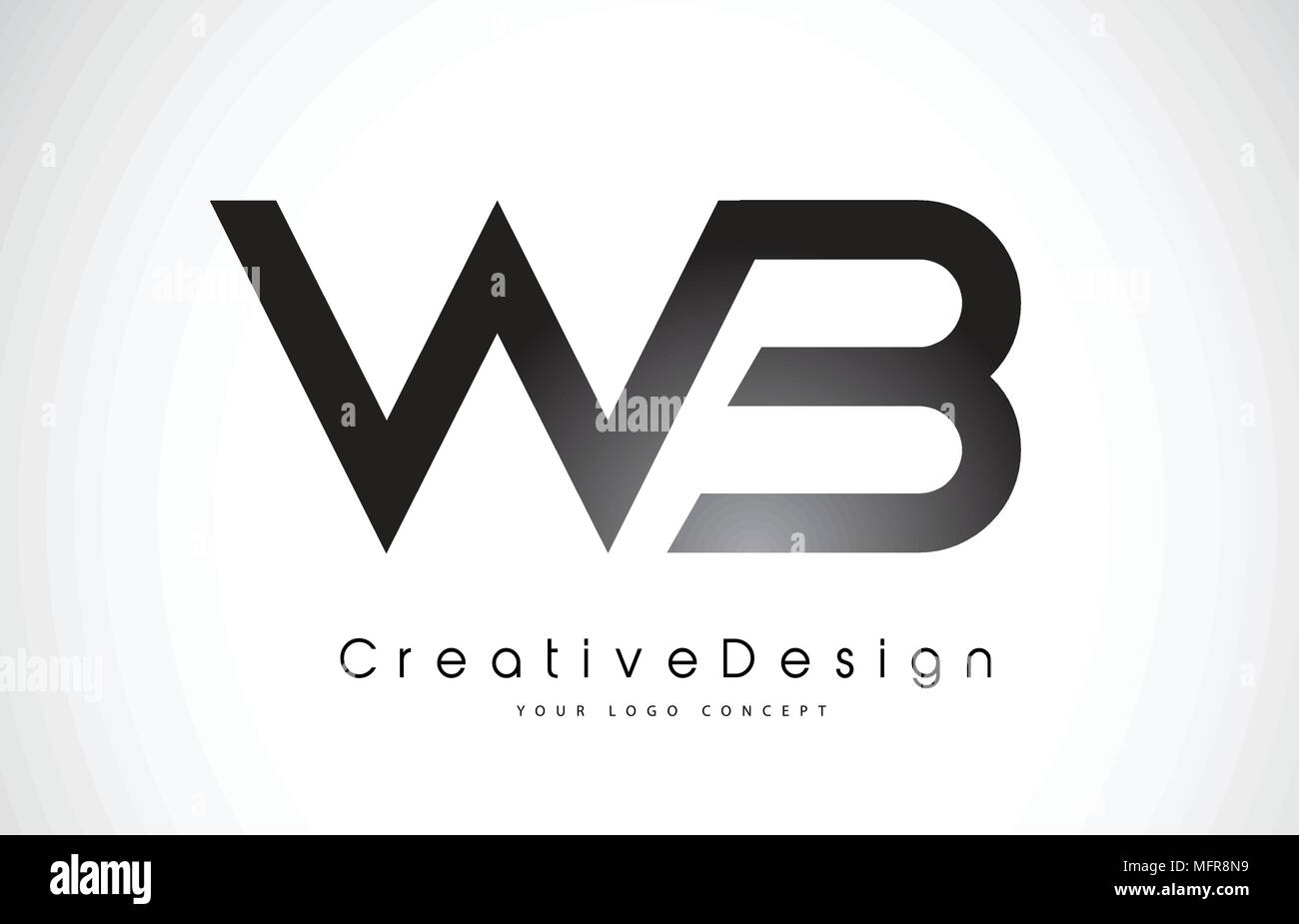 wb w b letter logo design in black colors creative modern letters
