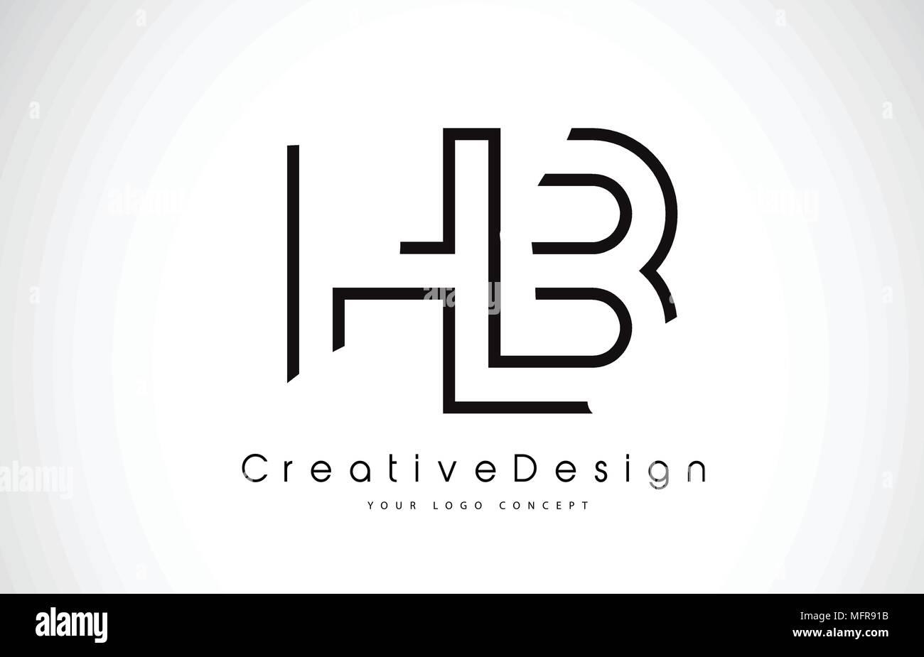 hb h b letter logo design in black colors creative modern letters