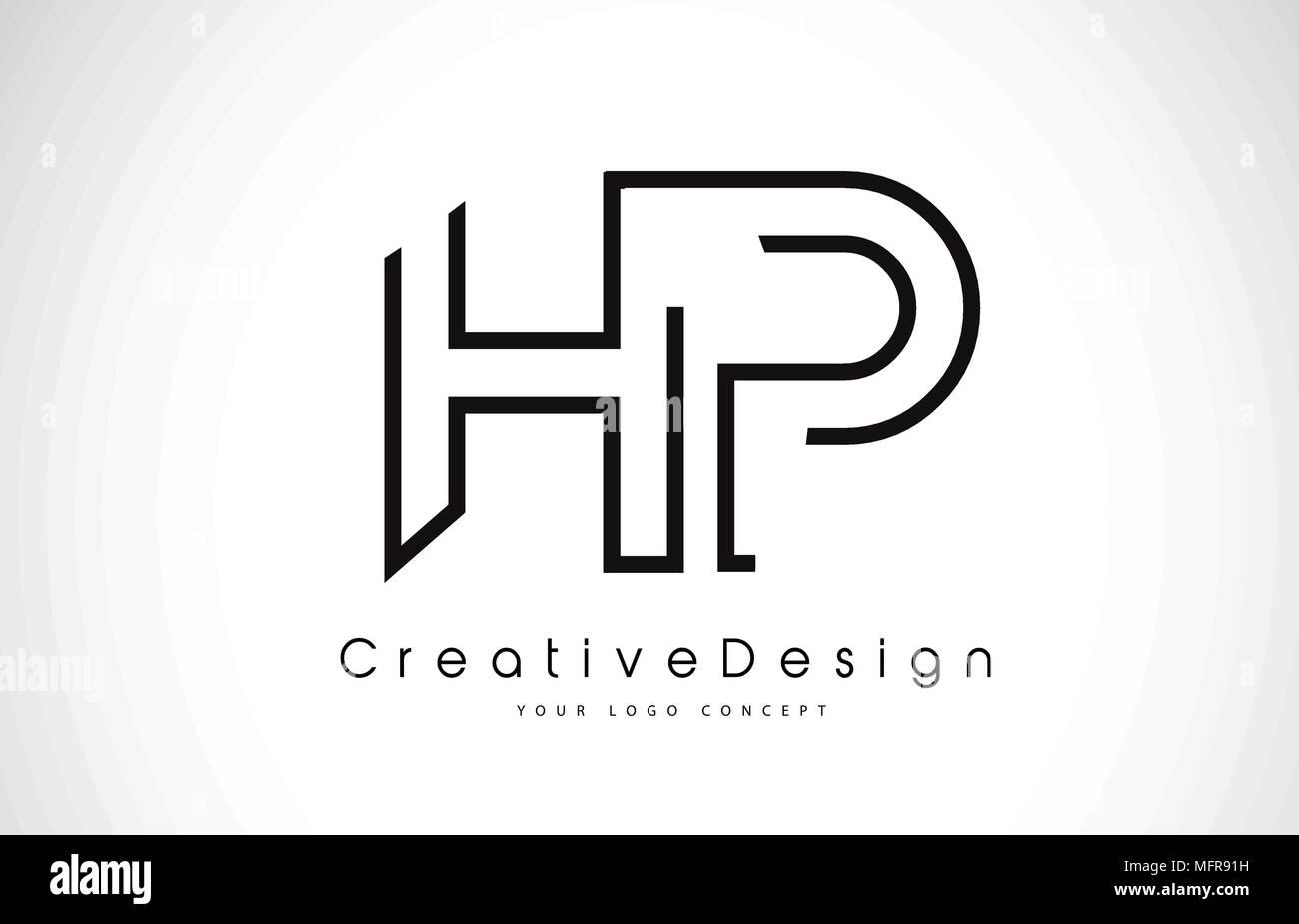 hp h p letter logo design in black colors creative modern letters