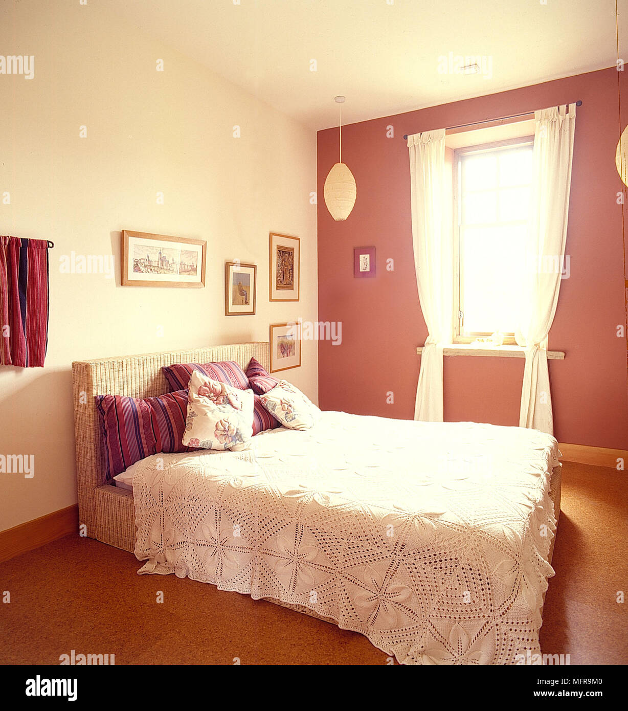 Country bedroom neutral and deep pink walls white bed cover ...
