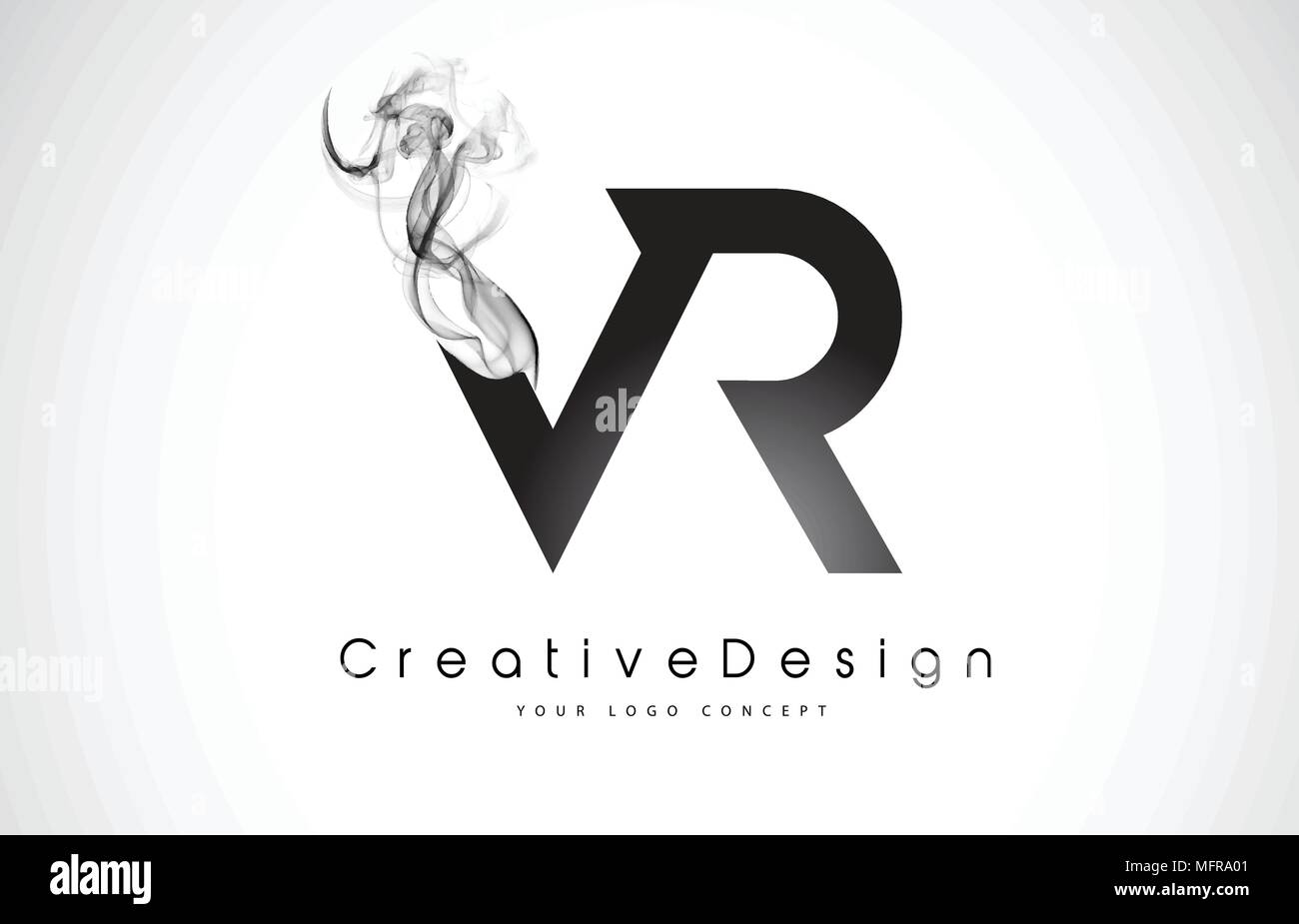 Vr Letter Logo Design With Black Smoke Creative Modern