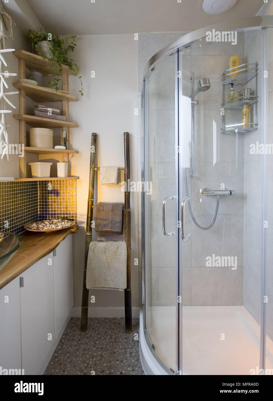 Modern shower cubicle set in corner of bathroom Stock Photo ...