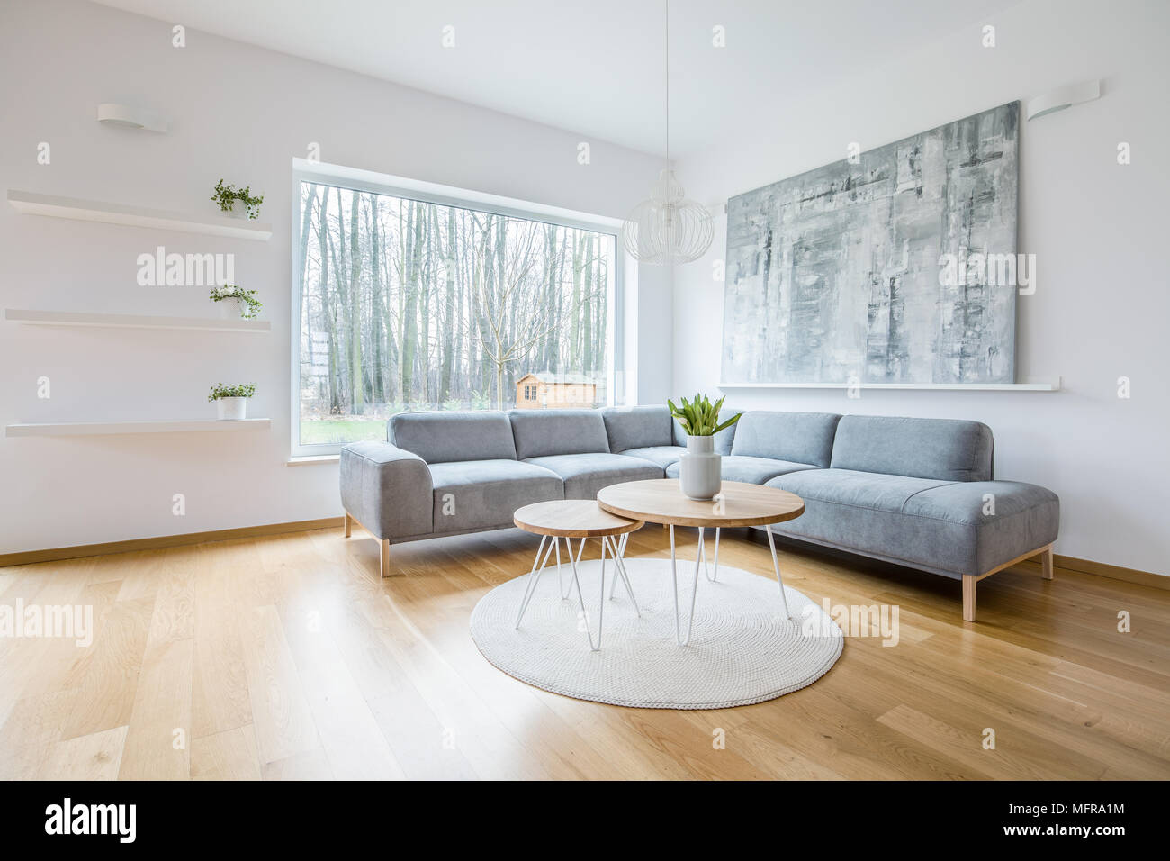 Two Hairpin Tables Placed On A Round Rug In White Sitting Room Interior  With Grey Corner Couch, Abstract Painting, Big Window And Plants On Shelves
