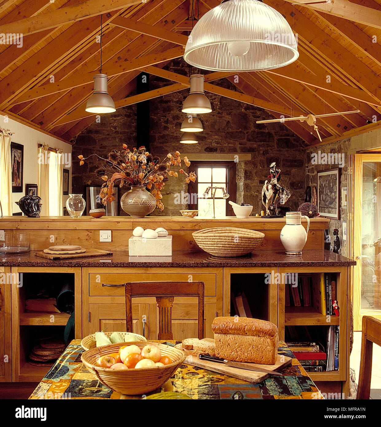 Open Plan Country Kitchen: Open Plan Country Kitchen In Barn Conversion Sloping Wood