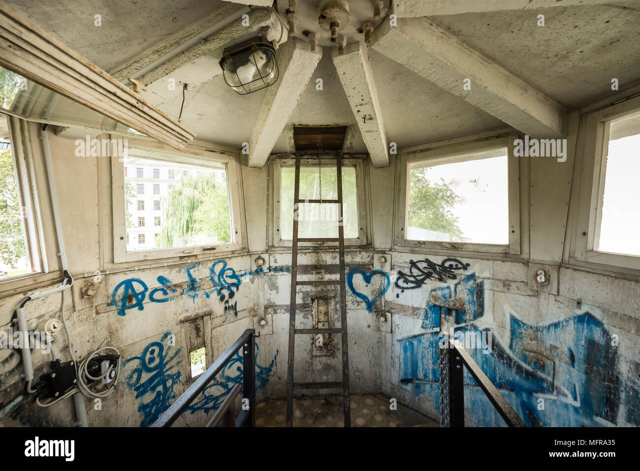 Berlin. Germany. East German watchtower (Type BT-6) interior, on Erner Berger Strasse just off Potzdamer Platz. - Stock Image