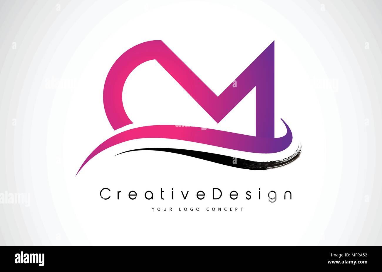 CM C M Letter Logo Design in Black Colors. Creative Modern Letters ...