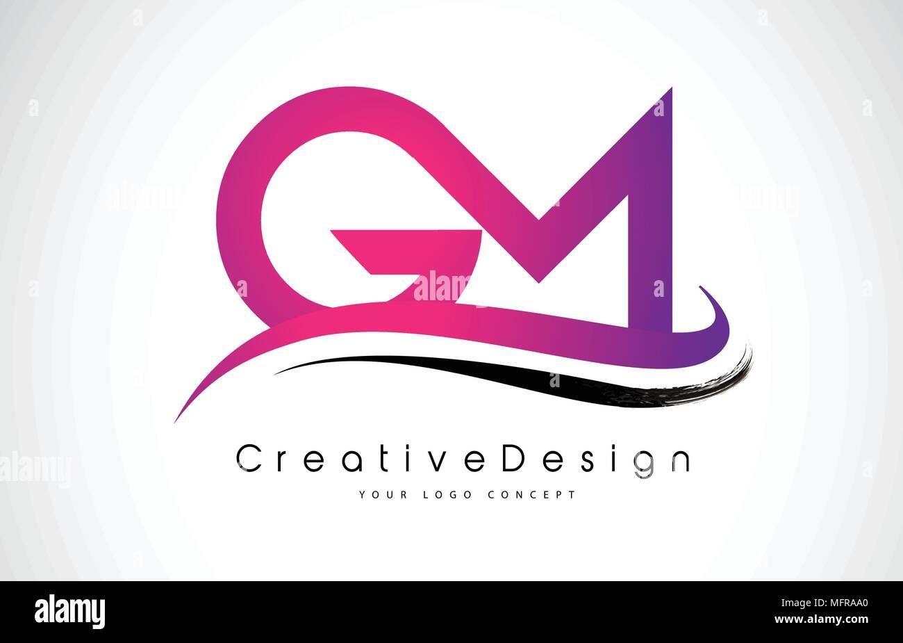 GM G M Letter Logo Design in Black Colors. Creative Modern Letters ...