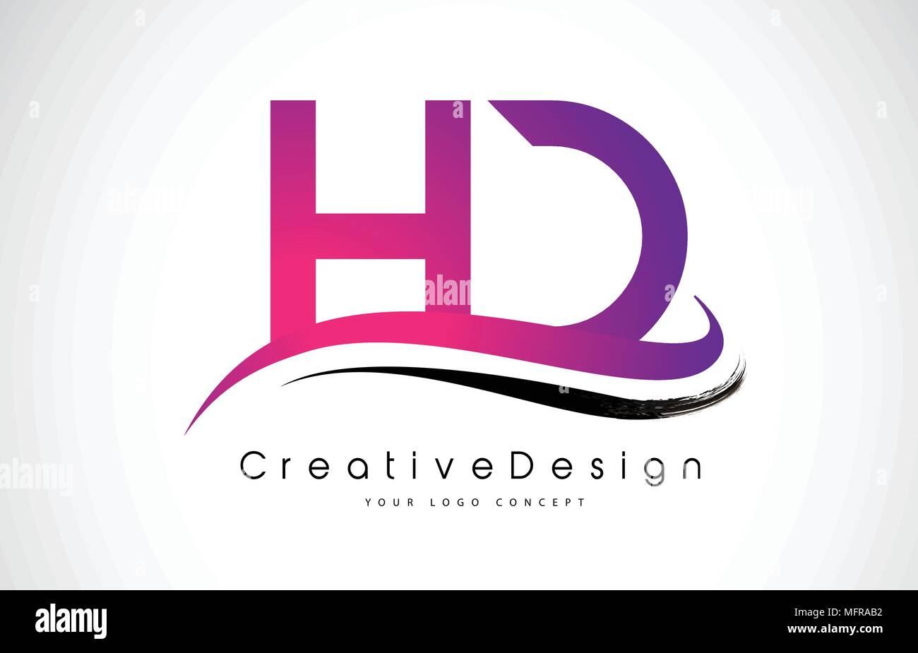 HD H D Letter Logo Design in Black Colors. Creative Modern Letters ...