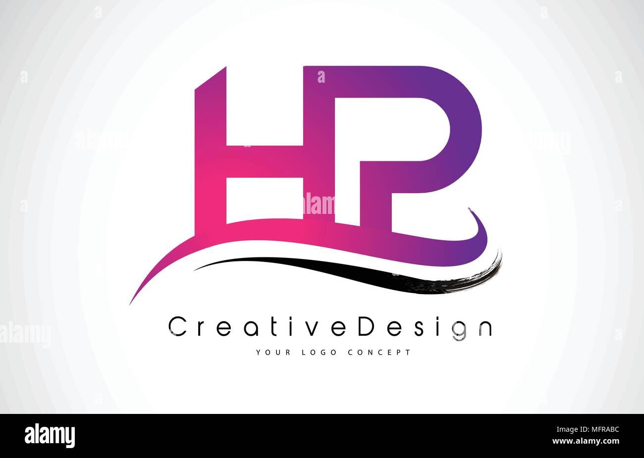 HP H P Letter Logo Design in Black Colors. Creative Modern Letters ...