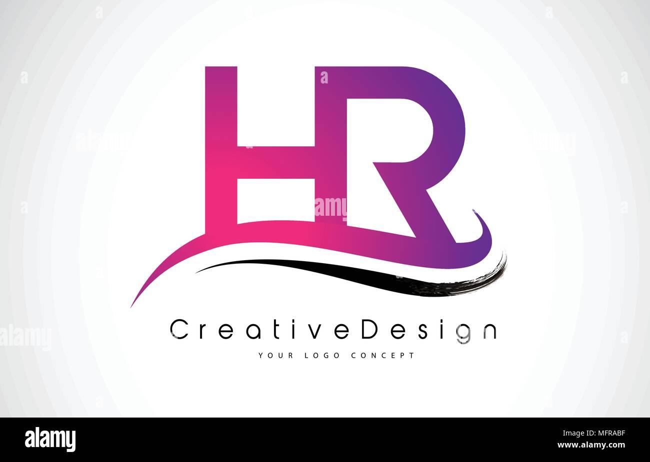 HR H R Letter Logo Design in Black Colors. Creative Modern Letters ...