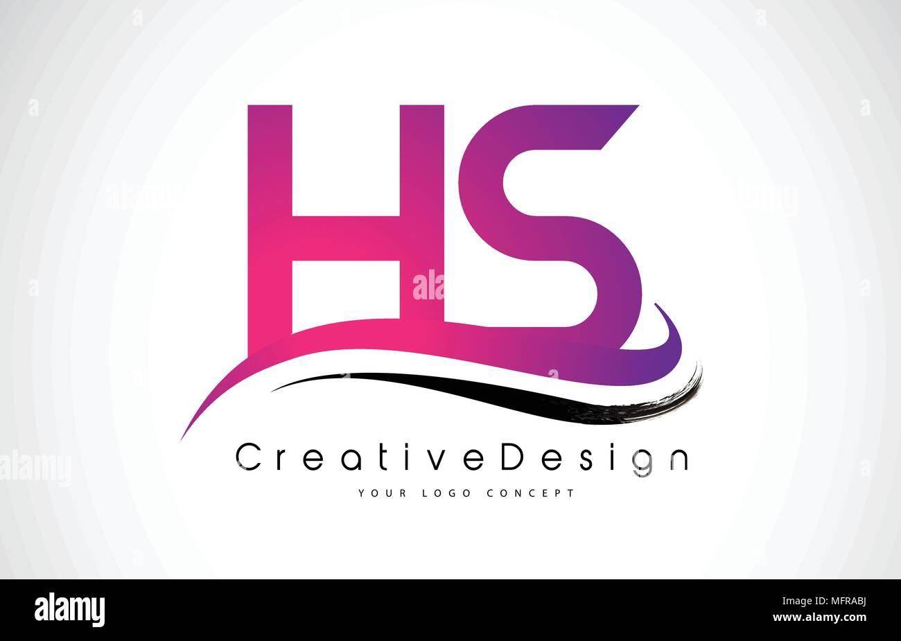 HS H S Letter Logo Design in Black Colors. Creative Modern Letters ...