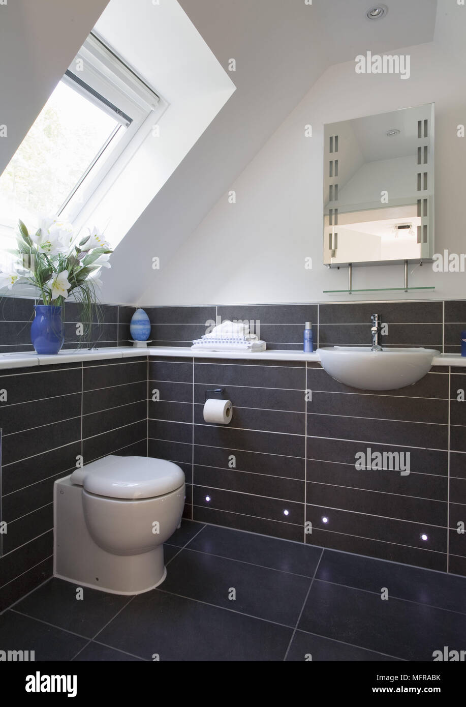 Washbasin Set In Unit Next To Low Level Toilet With Concealed Cistern In Contemporary Bathroom Stock Photo Alamy