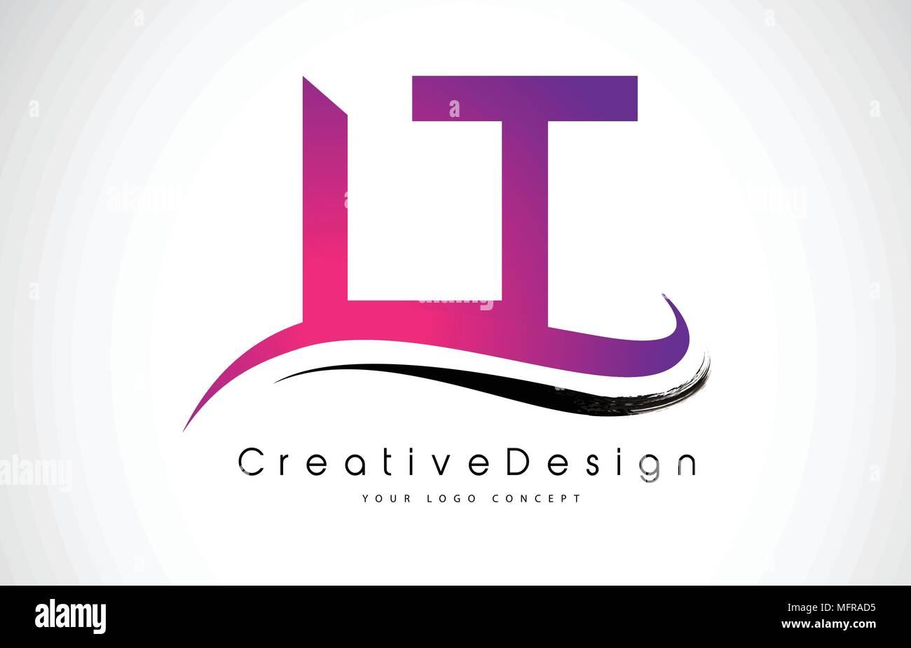 LT L T Letter Logo Design in Black Colors. Creative Modern Letters ...