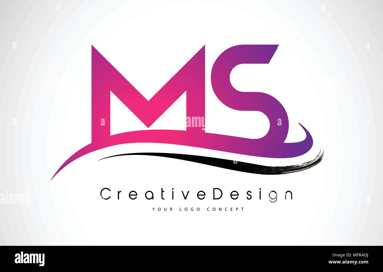 MS M S Letter Logo Design in Black Colors. Creative Modern Letters ...