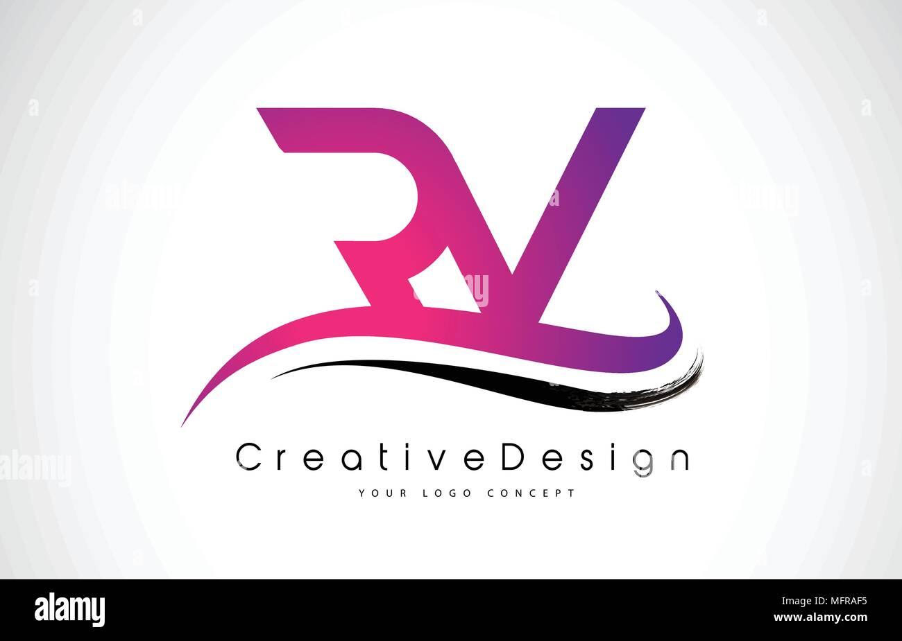 RV R V Letter Logo Design in Black Colors. Creative Modern Letters ...