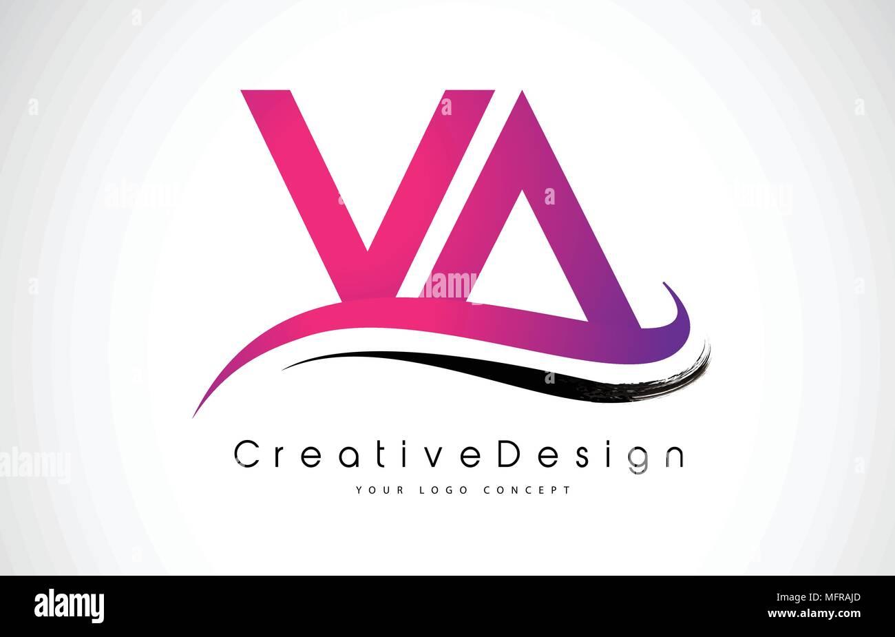VA V A Letter Logo Design in Black Colors. Creative Modern Letters ...