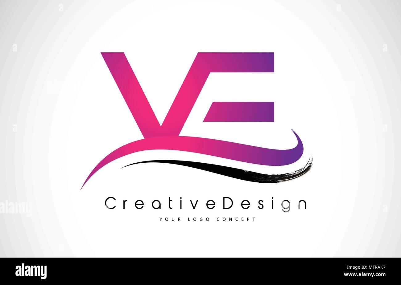 VE V E Letter Logo Design in Black Colors. Creative Modern Letters ...