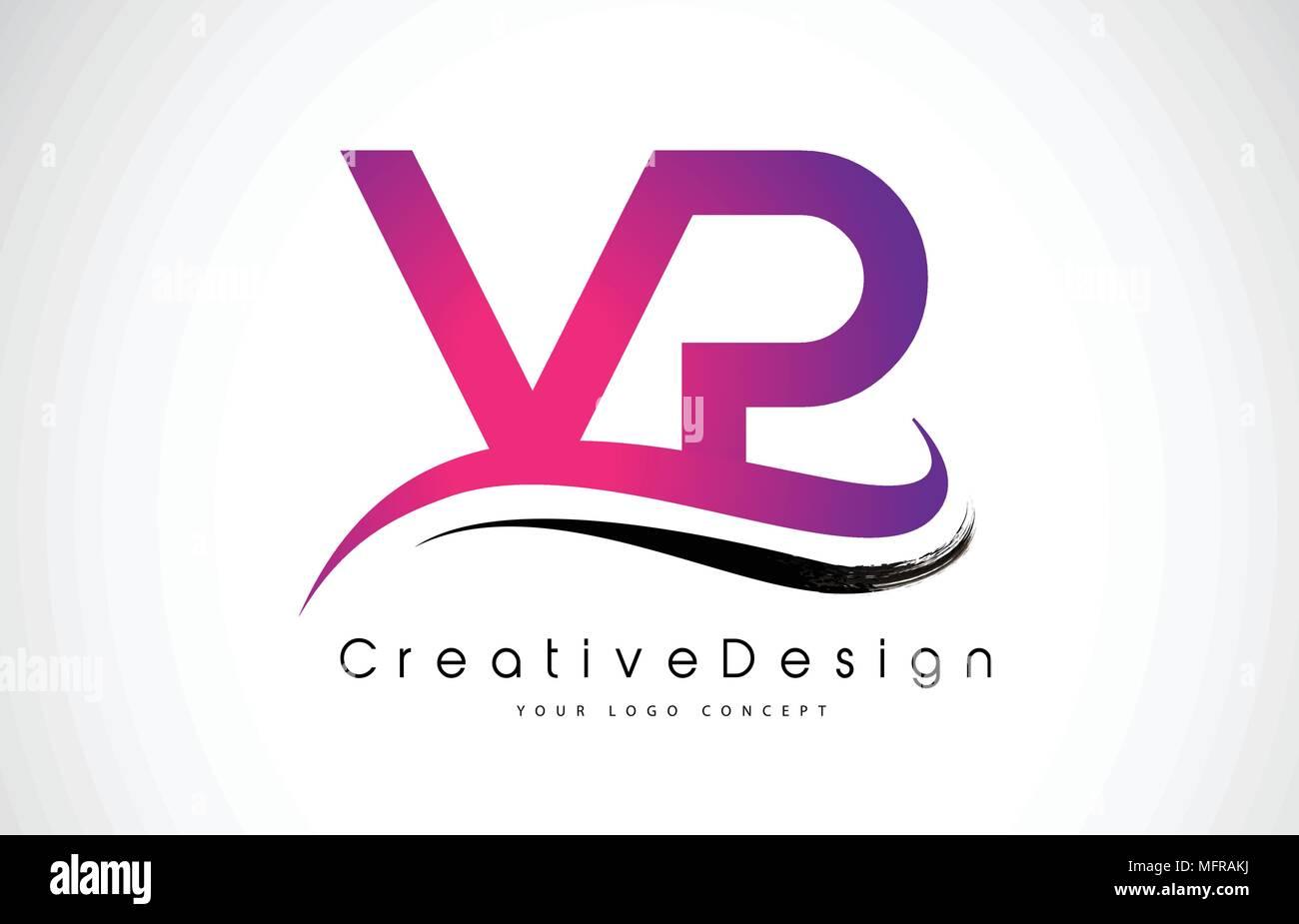 VP V P Letter Logo Design in Black Colors. Creative Modern Letters ...