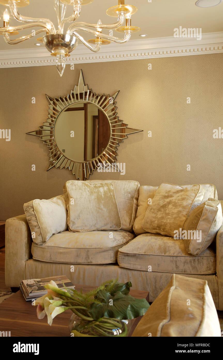 Sitting Room With Decorative Mirror Above Sofa Stock Photo Alamy
