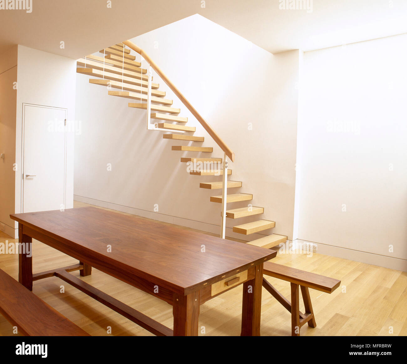 Marvelous Minimalist Dining Room With Wood Floor Floating Staircase Ncnpc Chair Design For Home Ncnpcorg
