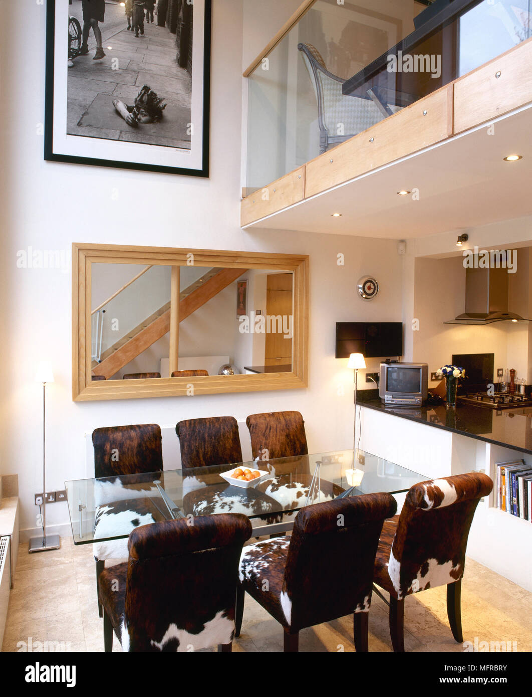 Split level, open plan apartment with view of dining room ...