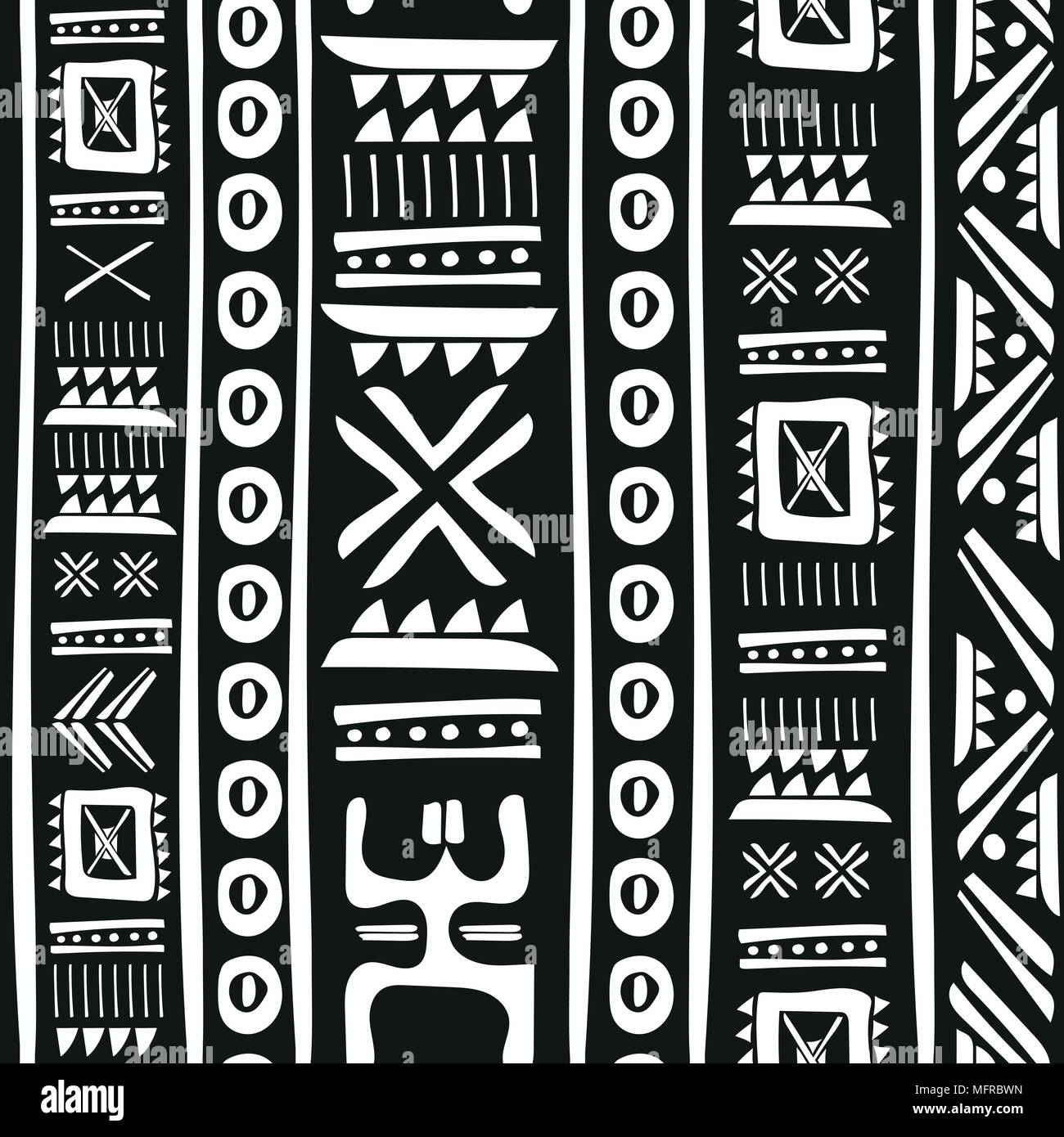 Black And White Tribal Doodle Vector Seamless Pattern Aztec