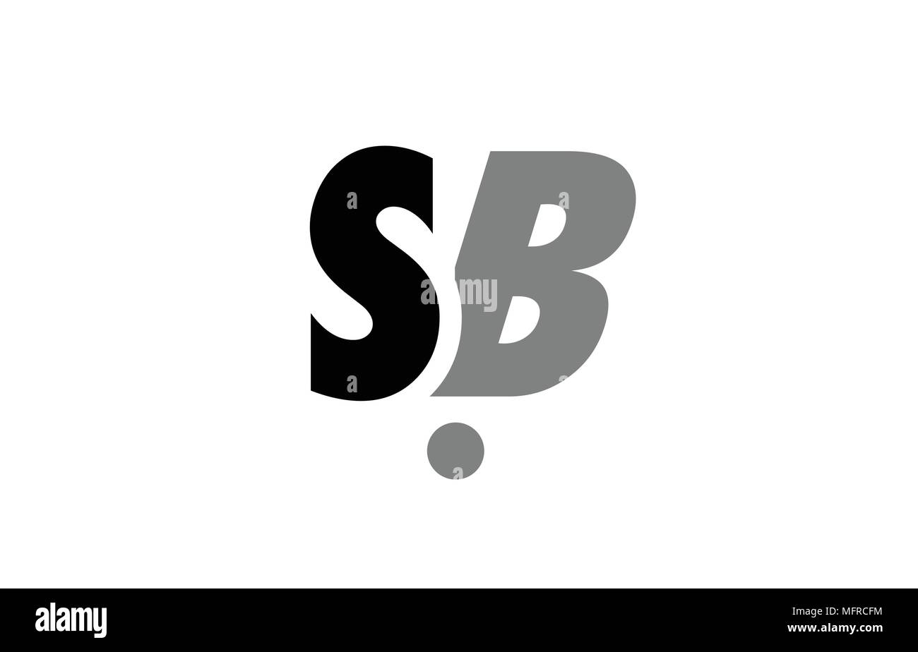 Creative Logo Icon Combination Of Alphabet Letter Sb S B In Black And Grey Isolated On White Background With Simple Efficient Design