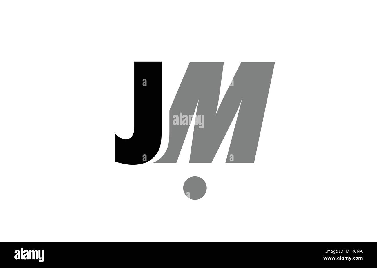 Creative Logo Icon Combination Of Alphabet Letter Jm J M In Black And Grey Isolated On White Background With Simple Efficient Design