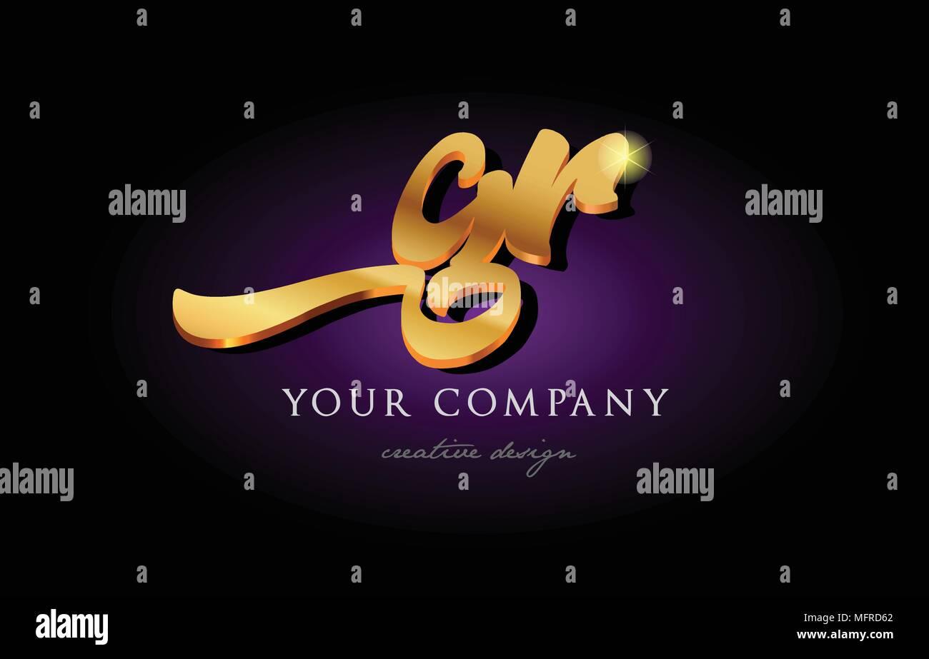Gr G R Alphabet Combination Letter Logo In Gold Golden 3d Metal