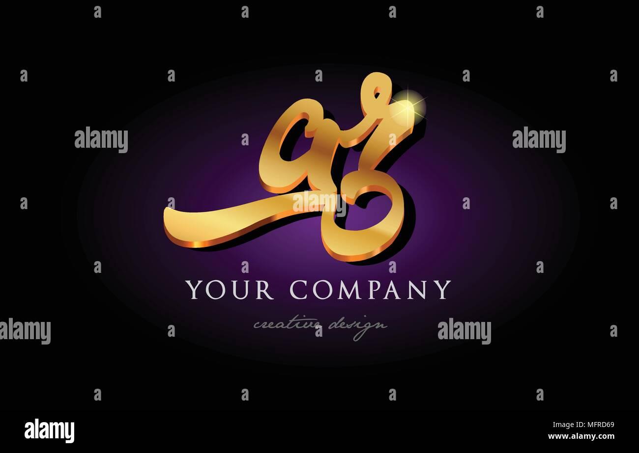 Ar A R Alphabet Combination Letter Logo In Gold Golden 3d Metal