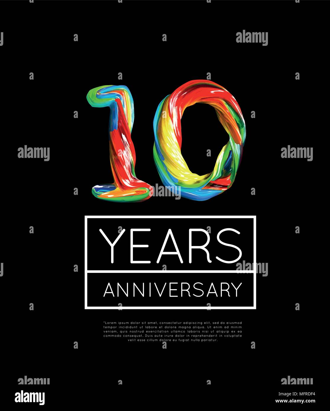 10th Anniversary, congratulation for company or person on black background - Stock Vector