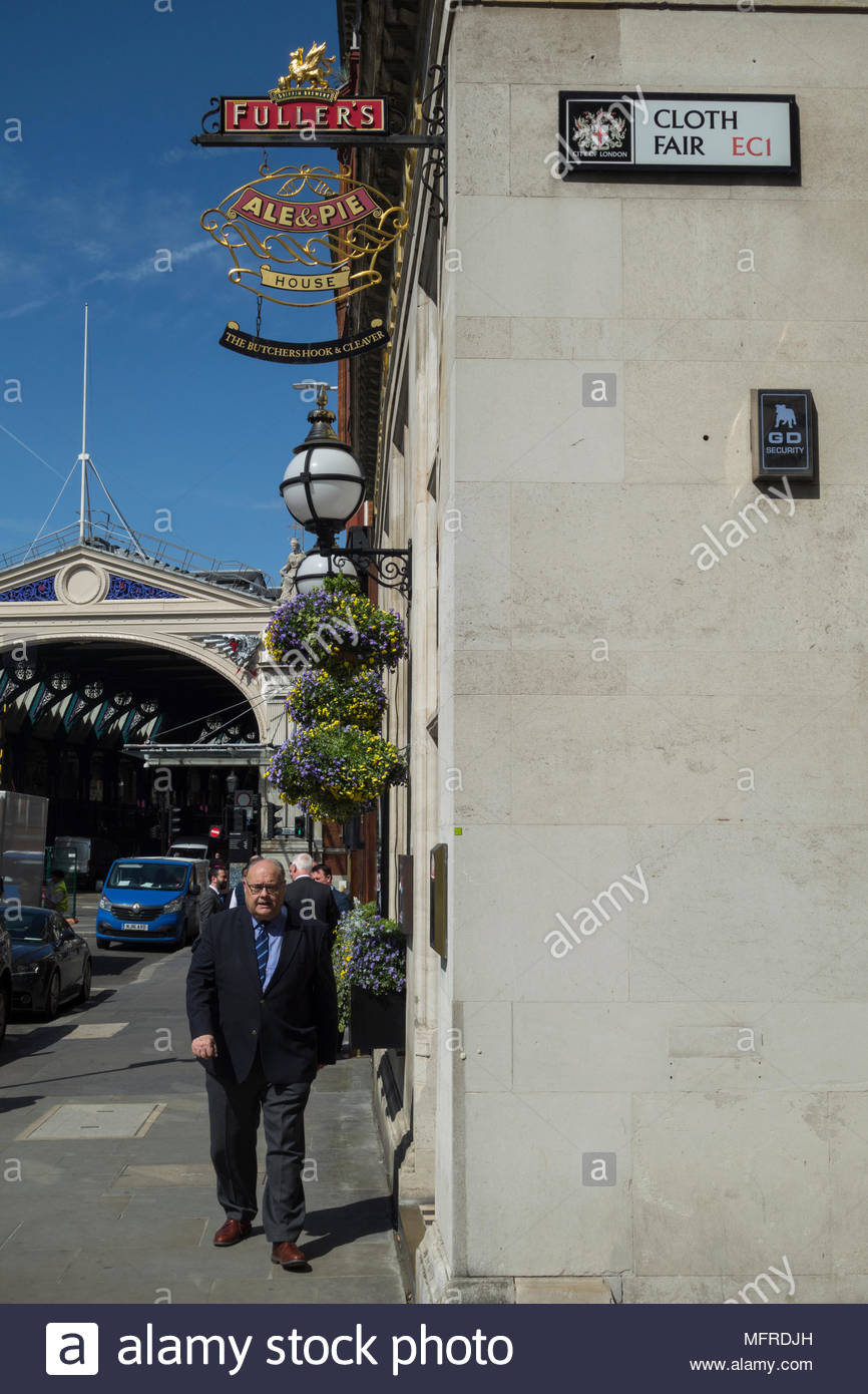 The Butchers Hook and Cleaver public house on Cloth Fair, Smithfield, London, EC1, UK, - Stock Image
